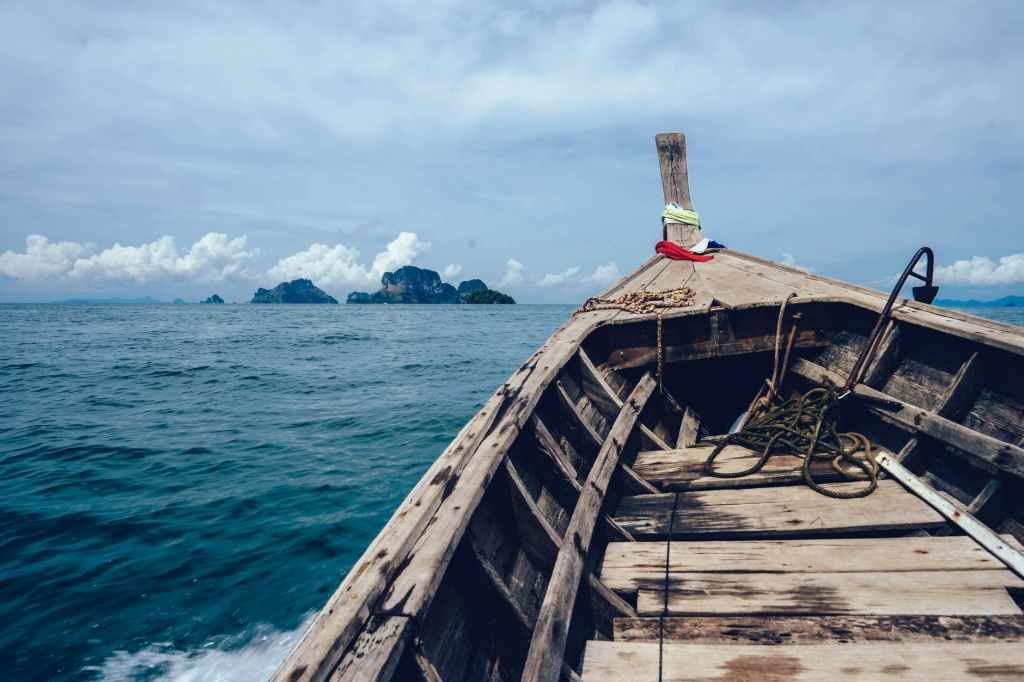 boat island ocean sea